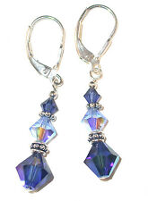 2-TONE BLUE Lt & Dk Sapphire Crystal Earrings Sterling Silver Swarovski Elements