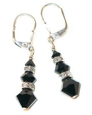 JET BLACK Earrings Dangle Sterling Silver JET BLACK Swarovski Crystal Elements