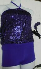 NWT Booty Shorts Foil Textured top Jazz Set Dance Purple Rasberry ch/ Adult