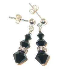 JET BLACK Crystal Earrings Sterling Silver Dangle Swarovski Elements