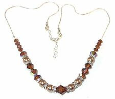 BRONZE Pearl & SMOKED TOPAZ Crystal Necklace Sterling Silver Swarovski Elements
