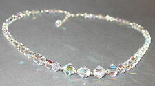 Graduated CLEAR AB Crystal Necklace Sterling Silver Swarovski Elements