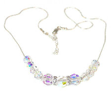 CLEAR AB Iridescent CRYSTAL Necklace Sterling Silver Swarovski Elements