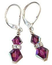 Handcrafted AMETHYST Purple Crystal EARRINGS Sterling Silver Swarovski Elements