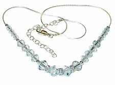 SWAROVSKI Elements CRYSTAL NECKLACE Sterling Silver Very LIGHT AZORE BLUE