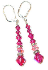 2-tone PINK Fuchsia Crystal Long Dangle Sterling Silver Swarovski Elements