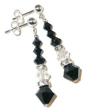 Long Dangle Crystal Earrings CLEAR AB & BLACK Jet Handcrafted Swarovski Elements
