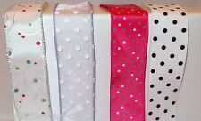 """RIBBON BY THE FIVE YARDS WIRED~1 1/2""""~POLKA DOTS~CRAFTS~HAIR BOWS~SCRAPEBOOKING"""