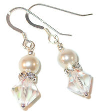 CREAM Pearl CLEAR AB Crystal Earrings Sterling Silver Bridal Swarovski Elements
