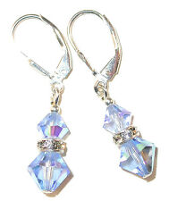 LIGHT SAPPHIRE BLUE Crystal Earrings Sterling Silver Dangle Swarovski Elements