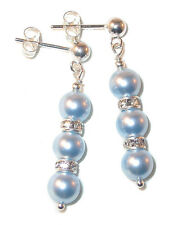 LIGHT BLUE Pearl Earrings Swarovski Crystal Elements Sterling Silver Dangle
