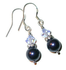 DARK NIGHT BLUE Navy Pearl Earrings Sterling Silver Swarovski Crystal Elements