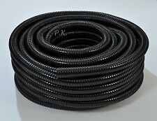 "Black Flexible Pipe 20mm 0.75"" Corrugated Flexi Hose Marine Koi Fish Pond Garden"