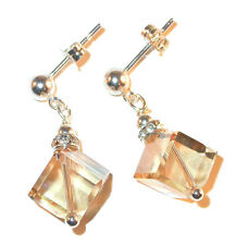 8mm Cube Crystal Earrings GOLDEN SHADOW Sterling Silver Swarovski Elements