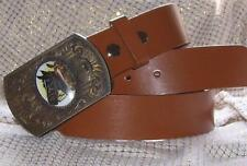 """MEDIUM BROWN Grained Leather BELT 1.5"""" Strap Only 30 32 34 36 38 40"""