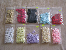 Satin Ribbon Rose Buds - 50 per pkt, 10 colours to choose - 12-15mm wide each