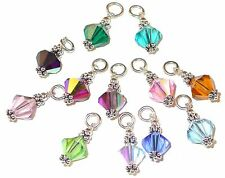 8mm Bali STERLING SILVER CHARM Swarovski Crystal Elements BIRTHSTONE Any Month