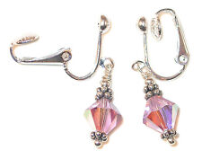 LT AMETHYST Crystal Earrings Sterling Silver JUNE Birthstone Swarovski Elements