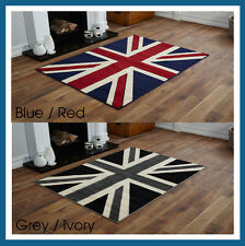 DISCOUNT LARGE UNION JACK FLAG TRADITIONAL RED IVORY BLUE OR BLACK GREY RUG