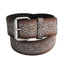 "Womens HYDE Silver on BROWN LEATHER Celtic Irish Design 2""W BELT 28 30 32 40"