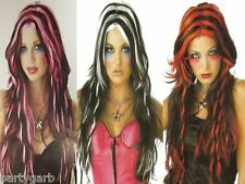 Long 2 Tone Twisted Wig Goth Witch Punk Anime Manga EMO Cosplay Red Pink White