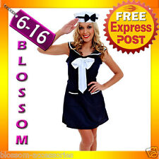 G42 Ladies 50s Pin Up Navy Sailor Rockabilly Vintage Fancy Dress Party Costume