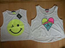 Primark Ice Cream or Smiley Face Neon Sequins Cropped Top Vest Festival *BNWT*