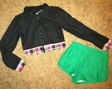 LOT Marcea Black Green Plaid Dance Jazz HIP HOP Jacket Booty Shorts Costume Ad S