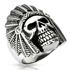 316L Stainless Steel Men's Large Indian Apache Chief Skull Biker Ring Size 9-14