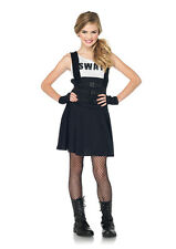 Teens Girl's SWAT Officer Cop Dress Outfit Kids Juniors Halloween Costume NEW