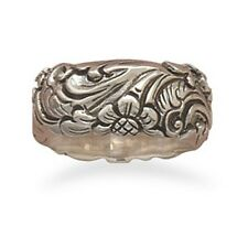 Oxidized Floral Design Ring 925 Sterling Silver Chunky Band Very Pretty Flowers