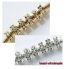 Hot Sell Golden/Silver Big Hole Crystal Glass Spacer Beads For Making Bracelet