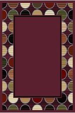 Purple Red Green Bordered Modern Area Rug Contemporary Circles Dots Carpet