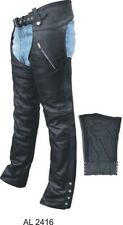 Unisex Black Top Grain Buffalo Leather Motorcycle Chaps with Zip Out Lining