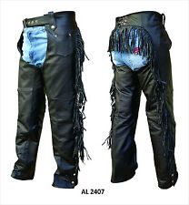 Ladies Womens Black Analine Leather Lined Motorcycle Chaps with Fringe