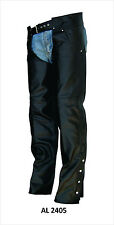 Unisex Black Lined Leather Motorcycle Chaps w Front Pockets
