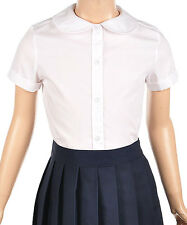 GIRLS U.S.POLO ASSN. PETER PAN COLLAR  BLOUSE CAP SLEEVE SCHOOL UNIFORM