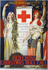 W58 Vintage WWI Red Cross Christmas Recruitment War Poster WW1 - A1 A2 A3