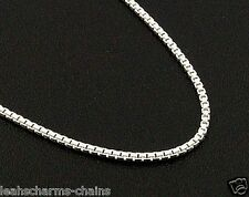 "1 MM BOX CHAIN NECKLACE 925 STERLING SILVER 14"" 16"" 18"" 20"" 22"" 24""  30"" INCH"
