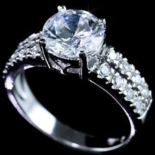 .925 Sterling Silver Cubic Zirconia CZ Fancy Bridal Engagement 2 row Band Ring