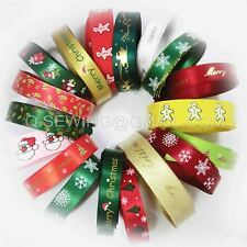 2yd Multi color X'MAS Snowflake Hat Sock Flower Tree Foil ribbon DIY craft gift