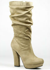 Light Taupe Beige Knee High Platform Boot Delicious Swept-S