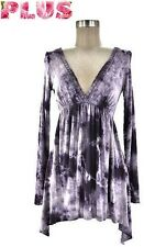 PLUS SIZE BLACK PURPLE TIE DYE ASYMETRICAL A LINE V SHIRT TUNIC TOP 1X 2X 3X