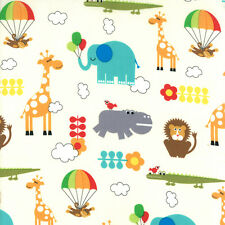 Bungle Jungle Fabric Elephant Giraffe Lion Monkey Animal Novelty Cotton Fabrics