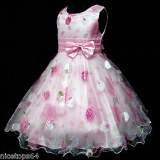 P3211 Baby Kid Pink Floral X'mas Party Flower Girls Dress Outfit SZ 3,4,5,6,7,8T