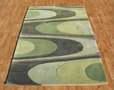 SMALL - MEDIUM - LARGE THICK 1 - 2 cm MODERN ACRYLIC WARP GREEN DESIGNER RUG