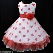 US R1525 Kid Girl Red Christmas Bridal Party Flower Girls Dress SZ 3-4-5-6-7-8-9
