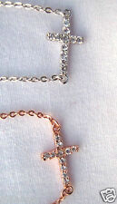 Sterling Silver Cross Pendant Necklace w/Cubic Zirconia Silver or Rose Gold Pl