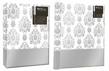 "SILVER LEAF DESIGN WHITE PHOTO FASHION ALBUMS 3 SIZES HOLDS 6"" x 4"" OR 5 x 7"""