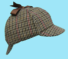 Deerstalker Sherlock Holmes Beige Tan Brown Tweed Hat